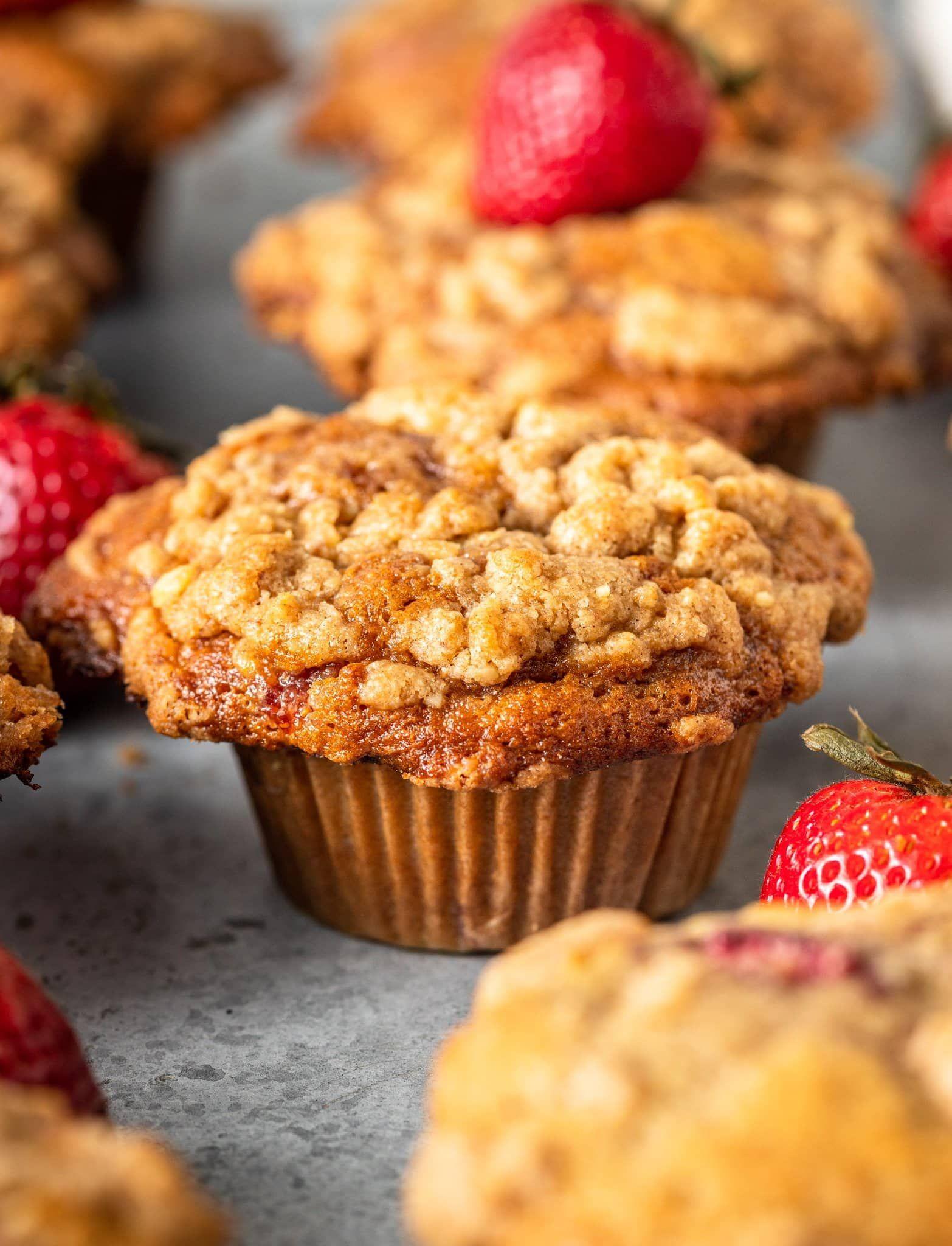 Strawberry Swirl Coffee Cake Muffins MikeBakesNYC