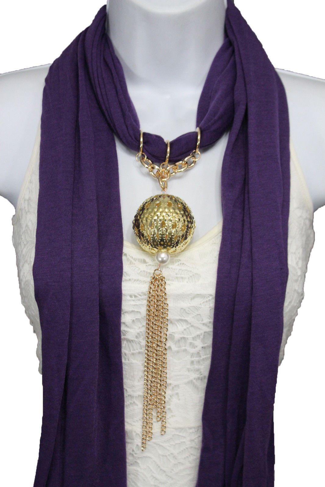 """Women Fashion Scarf Necklace Scarf + Christmas Pendant There Are 5 Colors To Choose From: Style: Fashion / Casual Condition: Brand New Length : About 65"""" Material: 100 % Polyester Color : Lavender / P"""