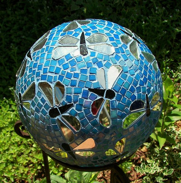 Dragonfly gazing ball Recycled bowling ball mirror stained glass