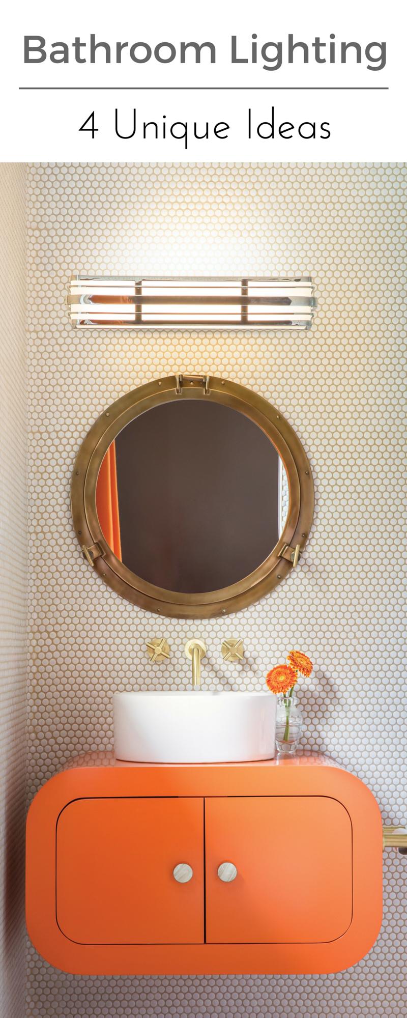 custom bathroom lighting. Find Your Bathroom Lighting Style 4 Custom Bathrooms To Inspire | Awe-Inspiring Pinterest Orange Bathrooms, Vanities And C