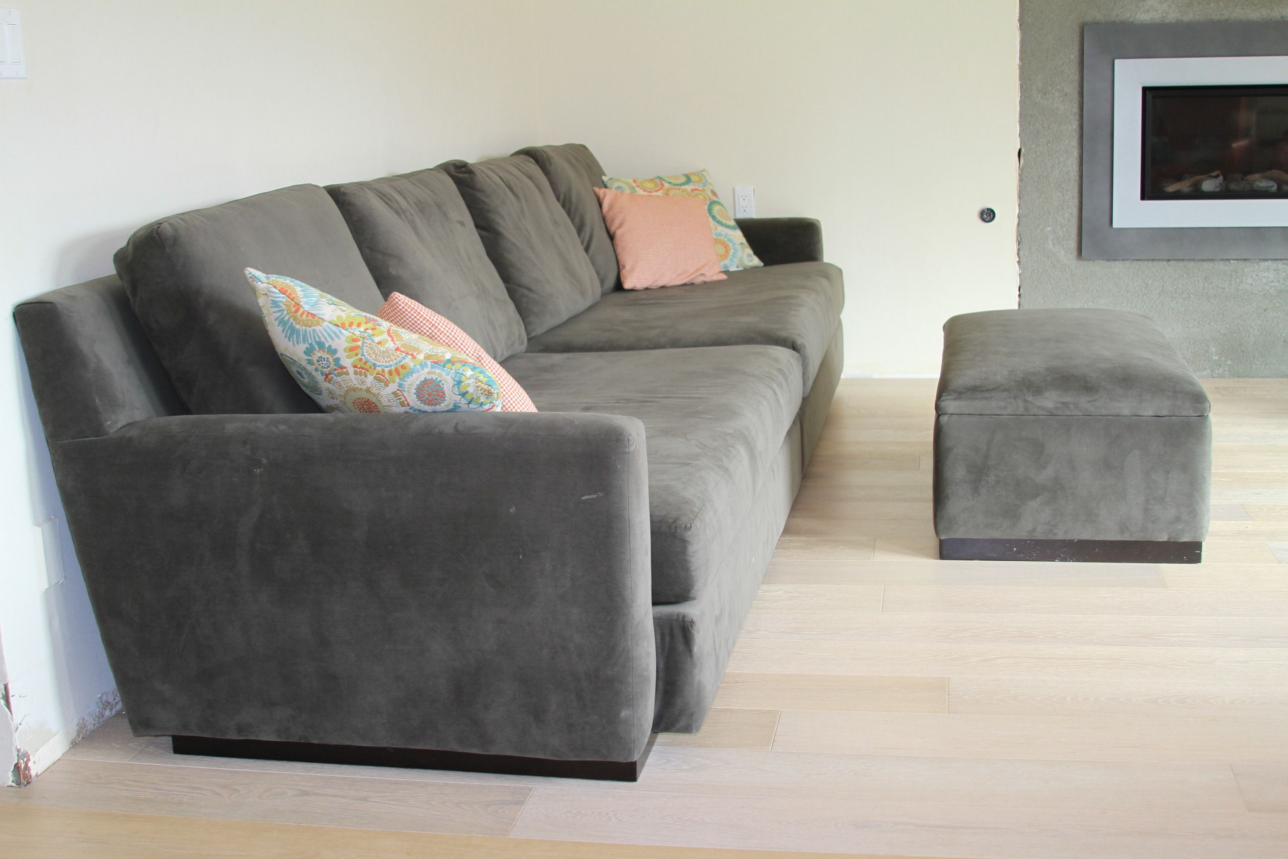 Single Angled Back Modern Sofa W/ Ottoman. Check Out Other Sofa Makeovers  At The