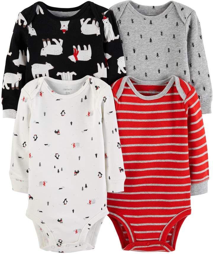 51340144165 Carter s Baby Boy 4-pack Polar Bear Bodysuit Set