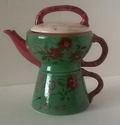 Tracy-Porter-Tea-For-One-Collectible-Teapot-Cup-Hand-Painted-Stackable-3pc-set