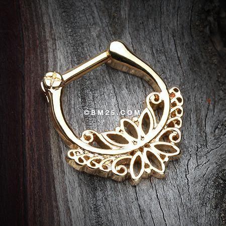 Golden Royal Leaflet Filigree Lace Septum Clicker-Gold