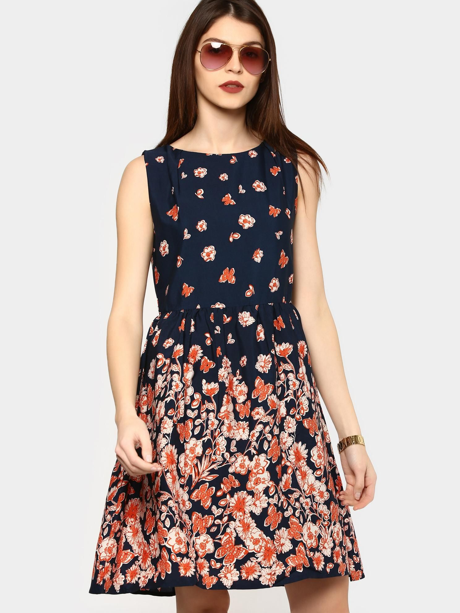 66791c976a544 Harpa Women Navy Printed Fit & Flare Dress | Be Fashionable ...