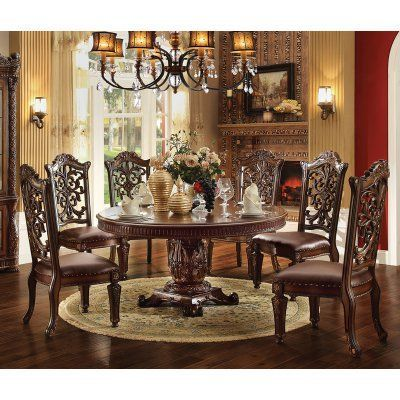 Furniture Vendome Cherry 7 Piece Round Pedestal Dining Table Set Impressive 7 Piece Round Dining Room Set 2018