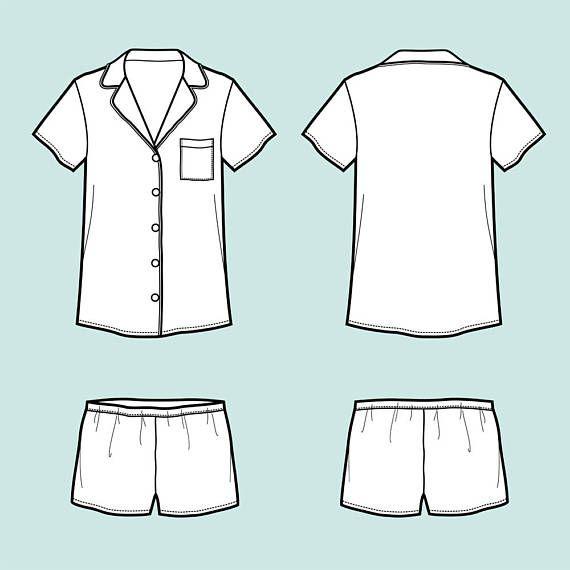 pajama suit vector fashion flat sketch adobe illustrator design