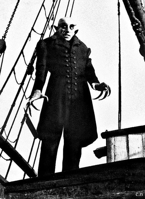 """First vampire film, from the silent film era. / Max Schreck in F.W. Murnau's """"Nosferatu - Phantom der Nacht"""" / German Expressionism, 1922."""