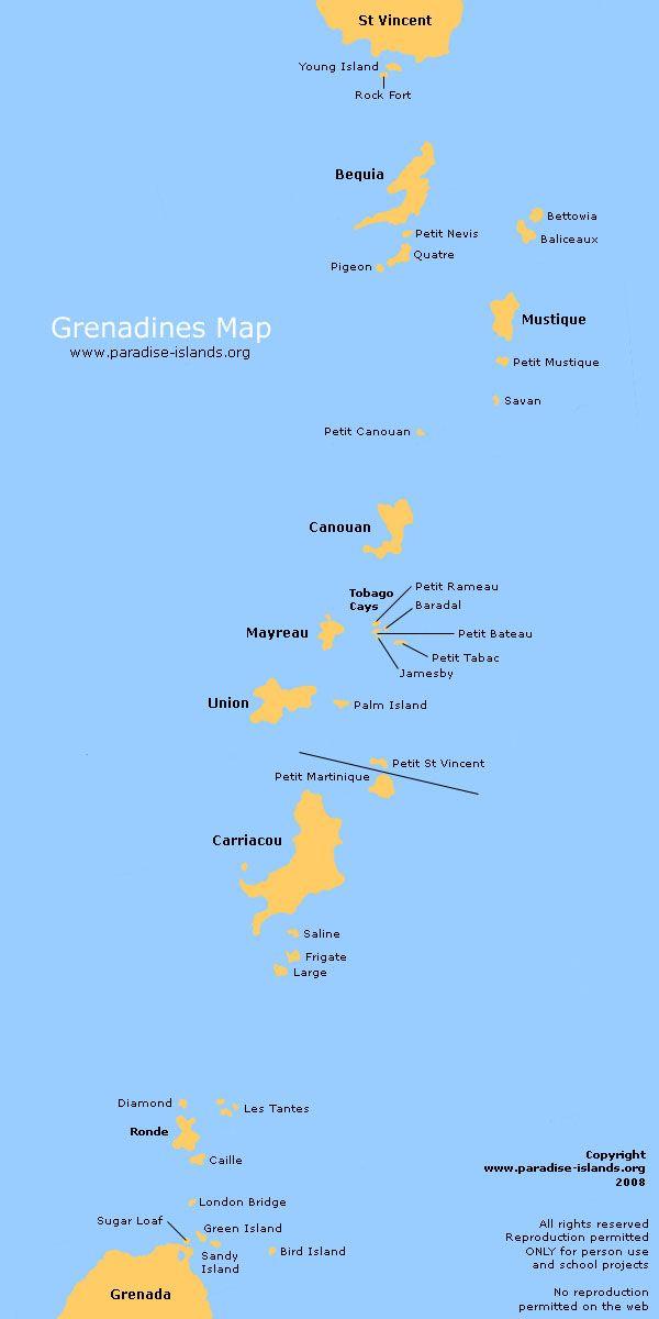 Grenadines Map Map Of The Grenadines Grenadines Windward Islands Mustique Island