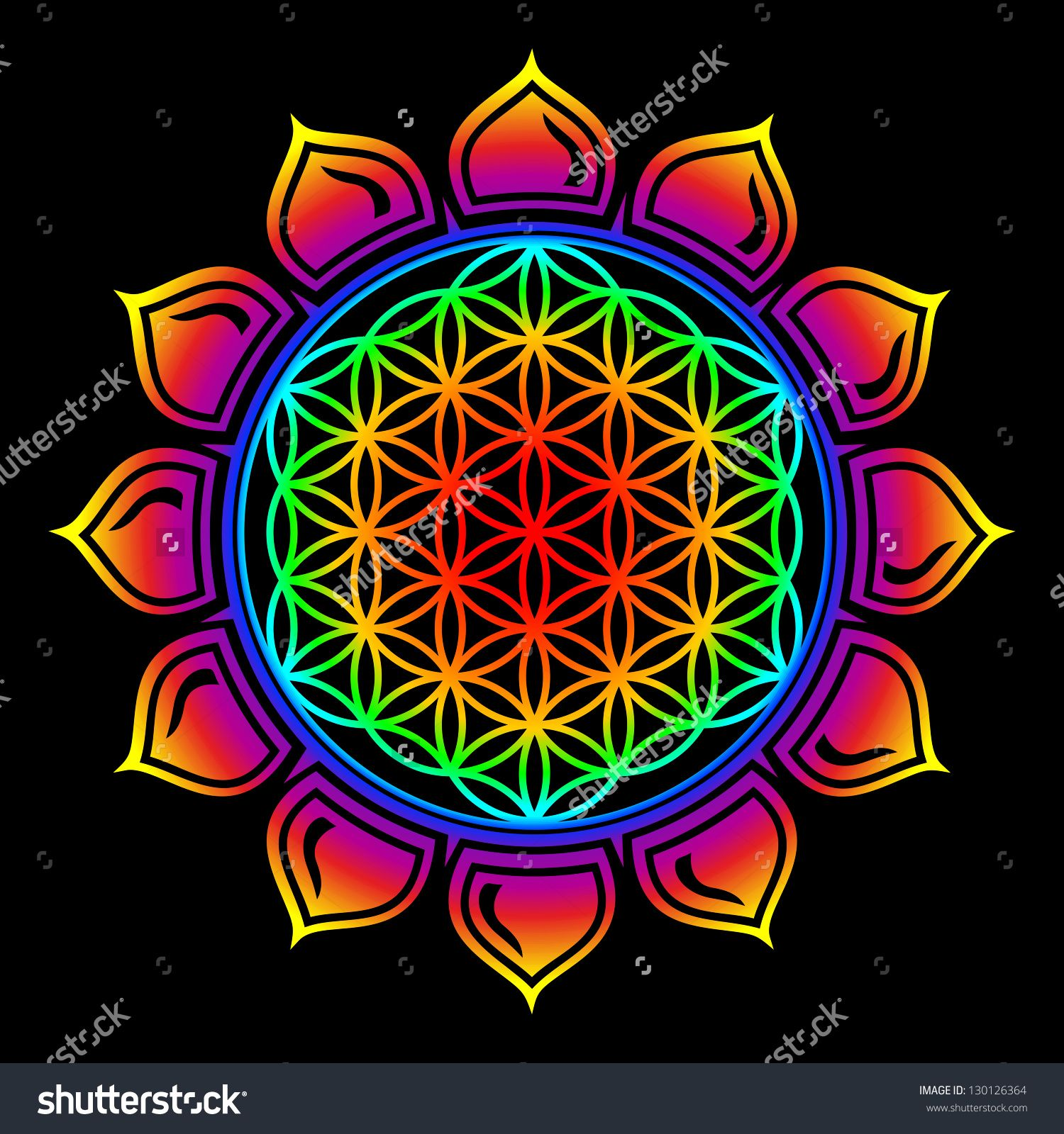 Flower Of Life Lotus Flower Rainbow Sacred Geometry Stock