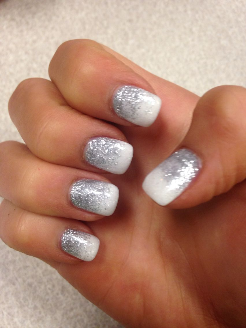 Silver glitter nails | Silver glitter nails, Nails ...