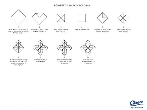 Napkin Fold Template How to Make a Poinsettia Fold Table - holiday memo template