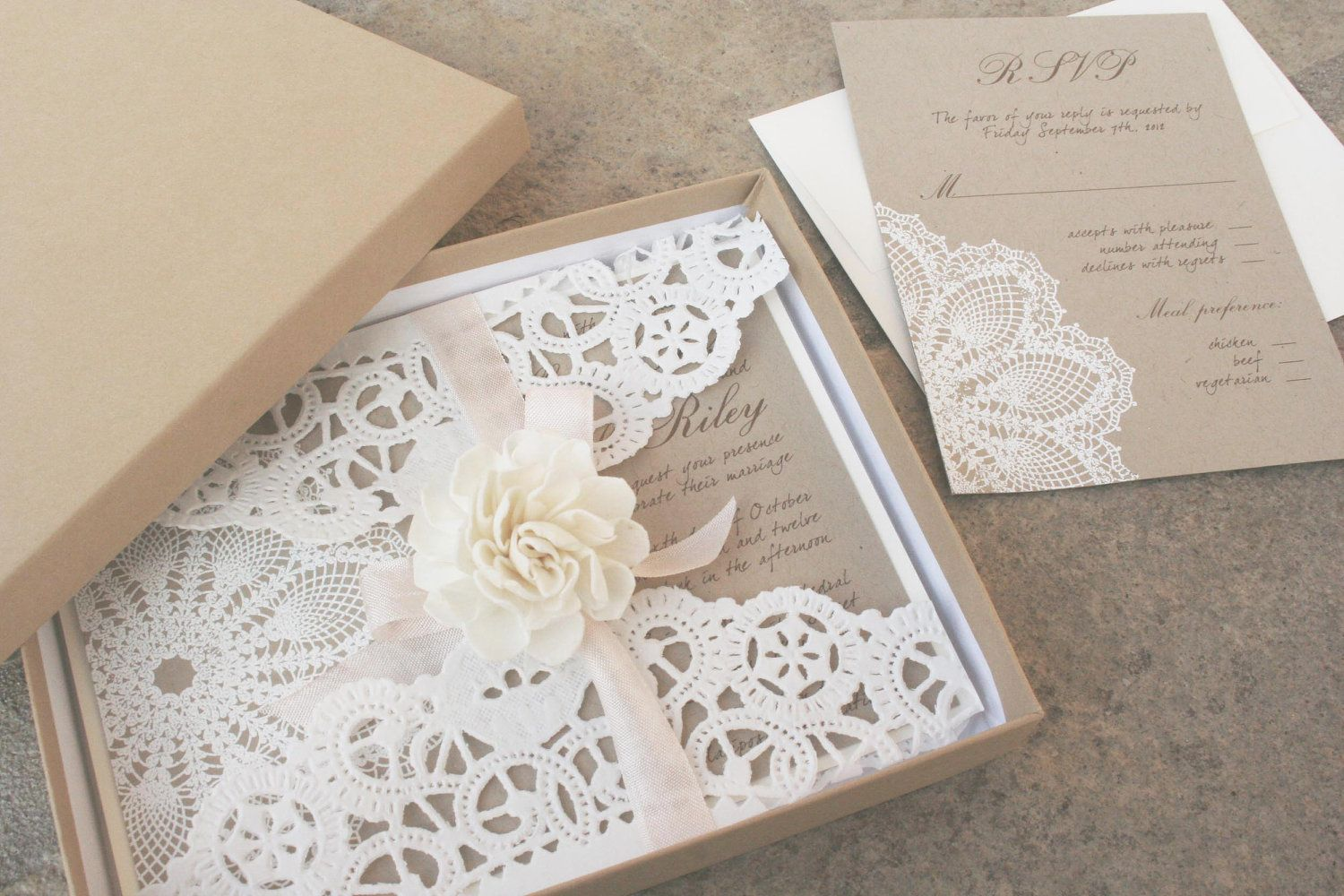 lace wedding invitation - Lace doily and rustic flourish - Boxed ...