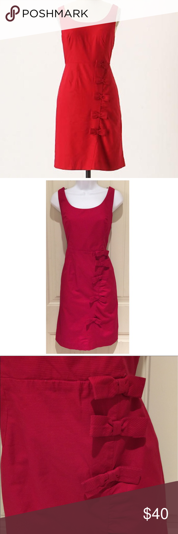 Anthro Moulinette Soeurs Cascading Bow Red Dress Anthropologie Bows