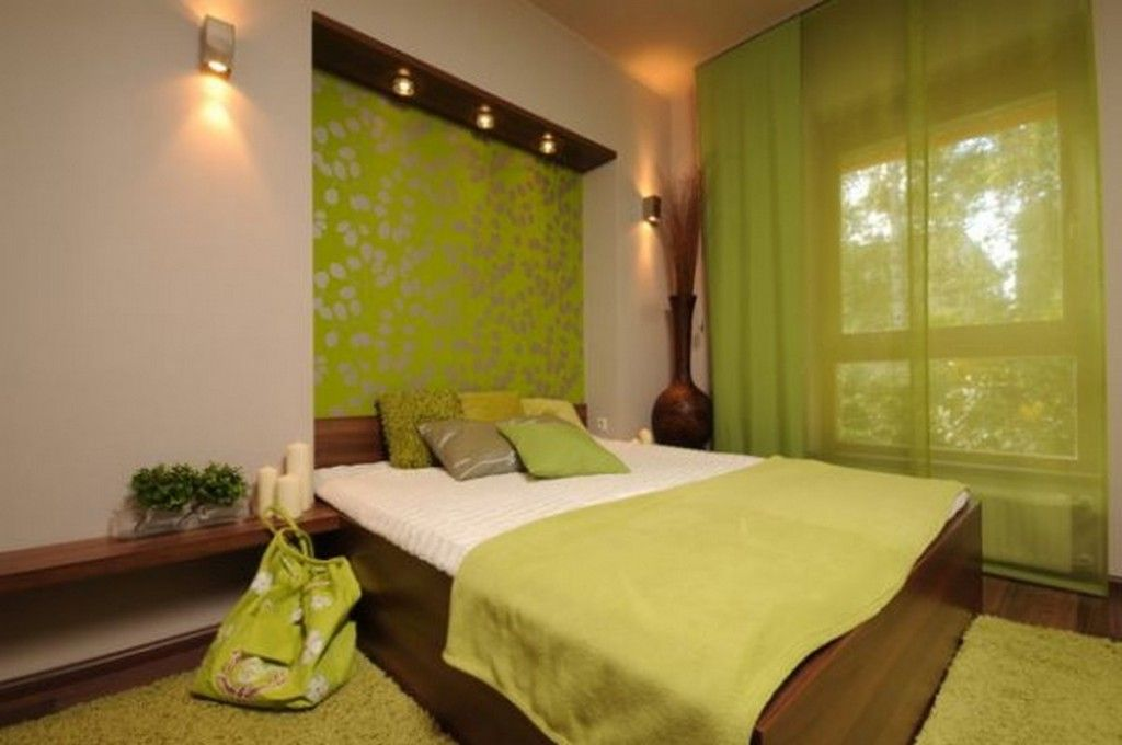 Bedroom: Nature Green Bedroom Design With Dark Wooden Bed And Wood ...