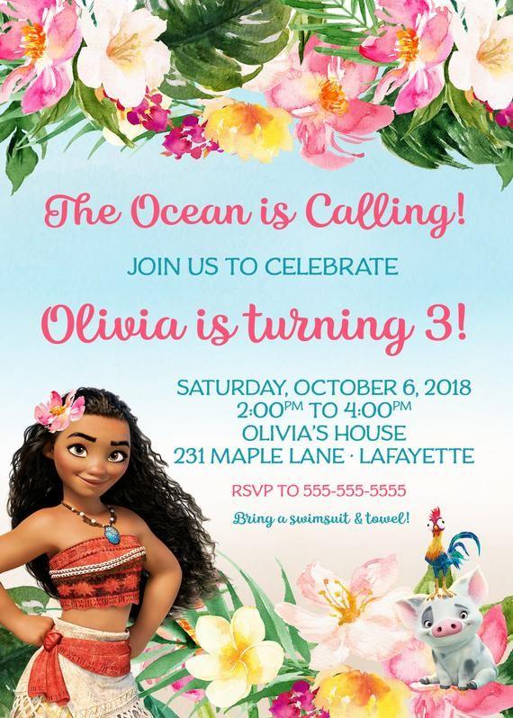 Moana Invitation O Birthday Girl Invitations Baby