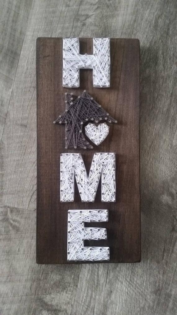 Kleine Home String Art, Haus ist, wo das Herz ist, Wohnkultur, Home-Zeichen, benutzerdefinier...