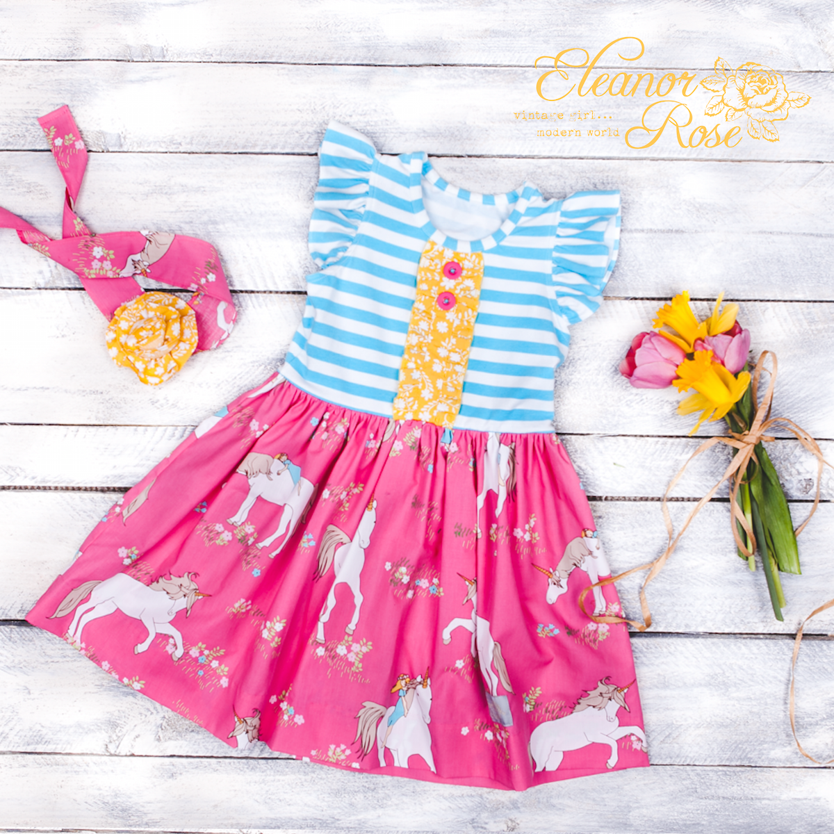 Not yet released, this is our Unicorn Meadow knit dress. Magic included. ;)  This dress releases on Wednesday, April 8 at 7am CT! http://eleanorrose.com/