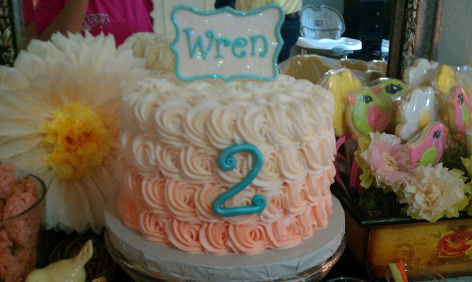My baby's peach and cream ombré cake! By cakesbytina in ocean springs ms