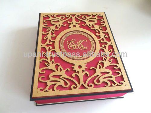 Pink Laser Cut Wedding Invitation Box Acrylic And Faux Silk Indian Card
