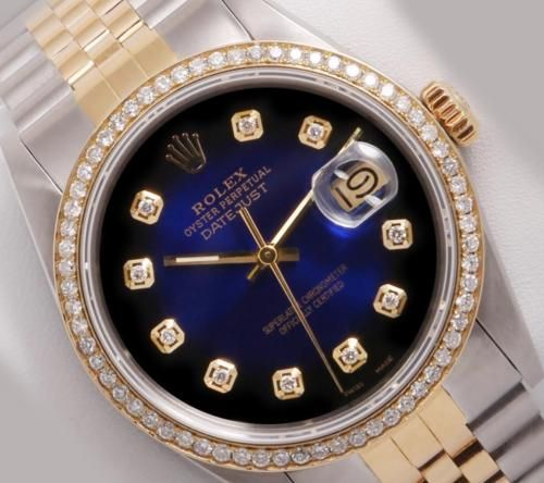 Rolex Men's Datejust 2 Tone 18k/SS-Blue Vignette Diamond Dial-Diamond Bezel-36mm https://t.co/8pSLj3l8LQ https://t.co/n0te3sCBrp