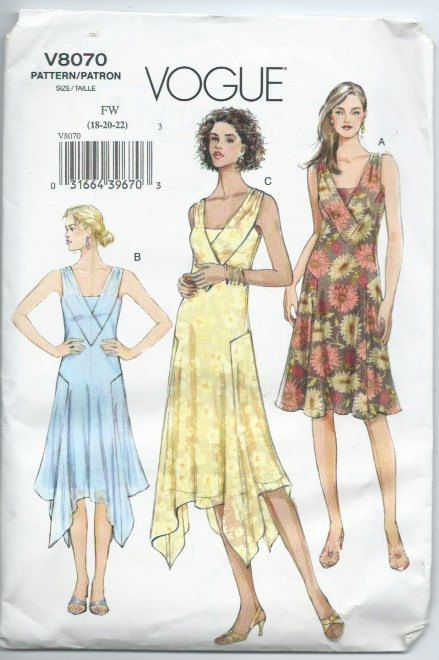 Vogue 8070 Misses Dress Sewing Pattern Flapper Style By