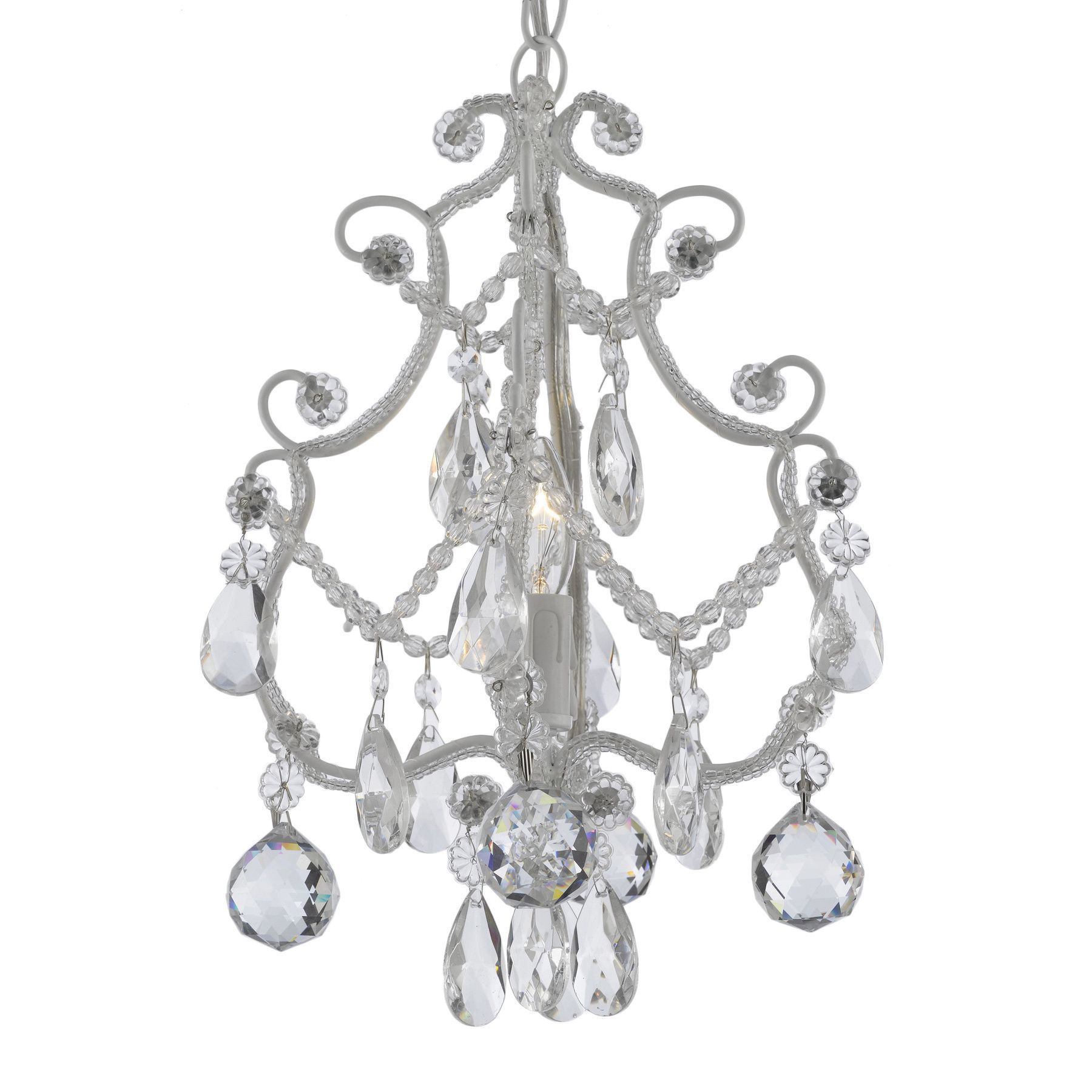 Wrought Iron And Crystal 1 Light White Chandelier Pendant