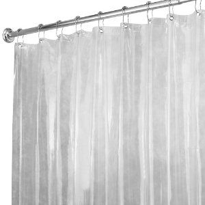 Amazon Com Interdesign X Long Shower Curtain Liner Clear Home Kitchen Ceiling To Floor 96 Curta Vinyl Shower Curtains Long Shower Curtains Shower Liner