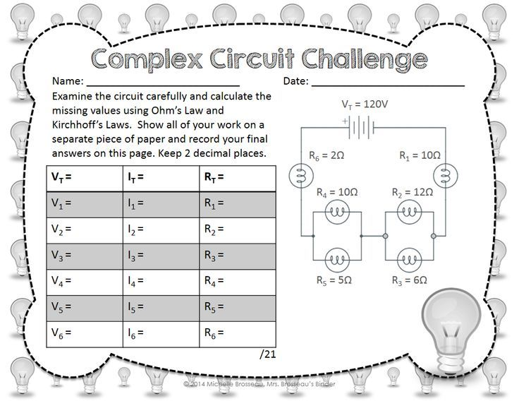 Complex Circuit Challenge Ohms Law Kirchhoffs Law in Mixed – Series Parallel Circuit Worksheet