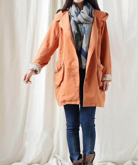 Autumn hood loose long sleeved Large pocket Coat by MaLieb on Etsy, $119.00