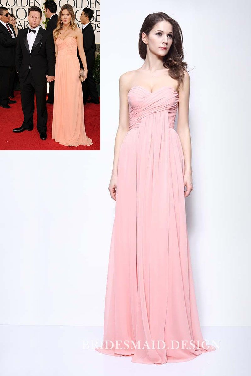Rhea durham red carpet inspired pink chiffon floor length bridesmaid
