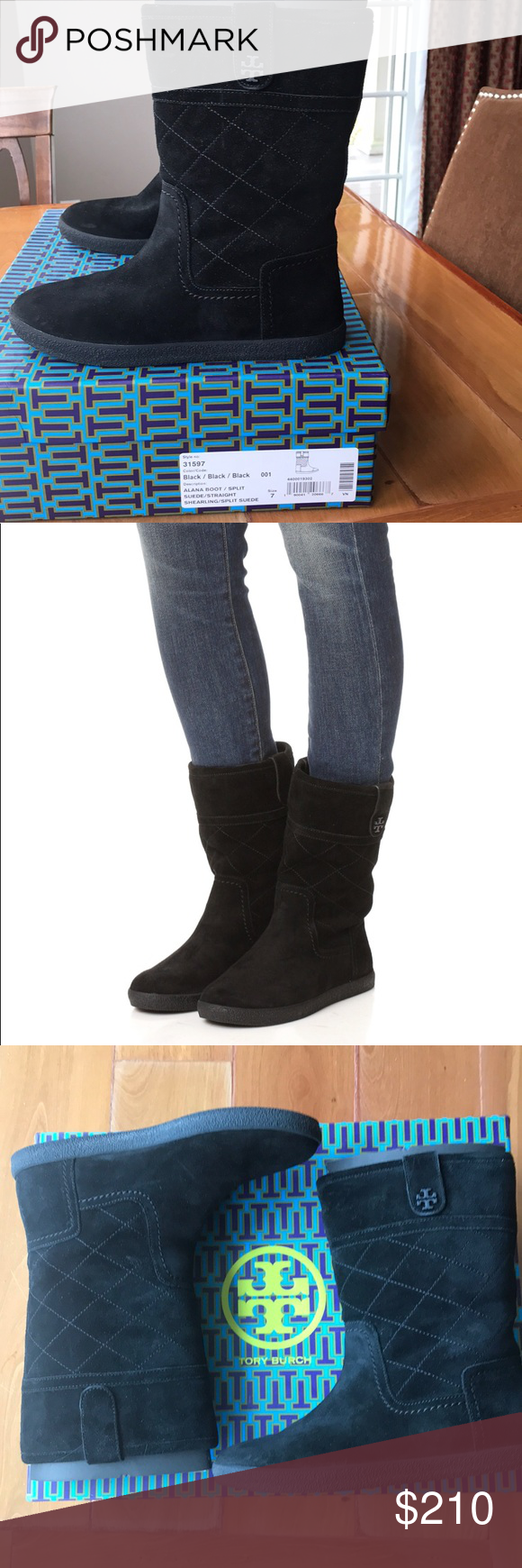 a9604feef56 Tory Burch LIKE NEW Alana suede boot Shearling lining adds warmth to these  quilted suede Tory