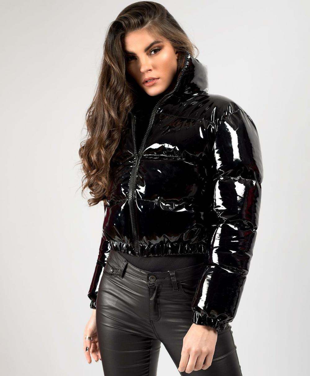 Women Shiny Wet Look Vinyl Thick Puffer Padded Quilted Cropped Short Jacket Coat Ebay Shiny Jacket Vinyl Clothing Short Jacket [ 1213 x 1000 Pixel ]
