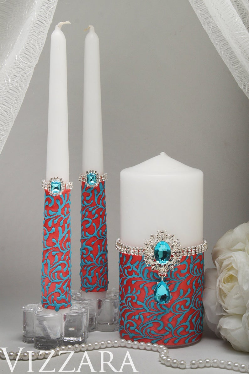 Unity candle Coral wedding Unity candles for weddings Coral and turquoise wedding Custom unity candle set Coral wedding ideas