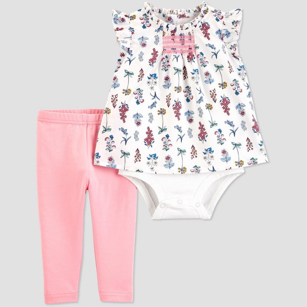 Carters Just One You Baby Girls Print Smocked Romper Pink