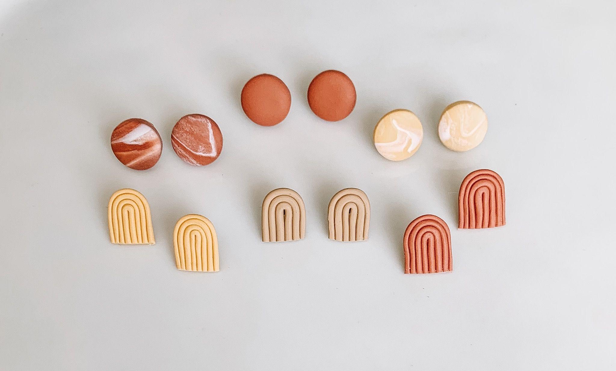 Handmade clay studs