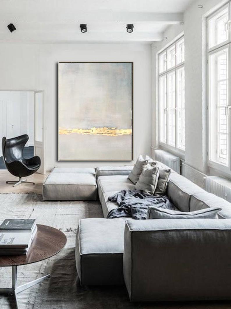 Grande peinture originale sur toile beige peinture abstraite or | Etsy