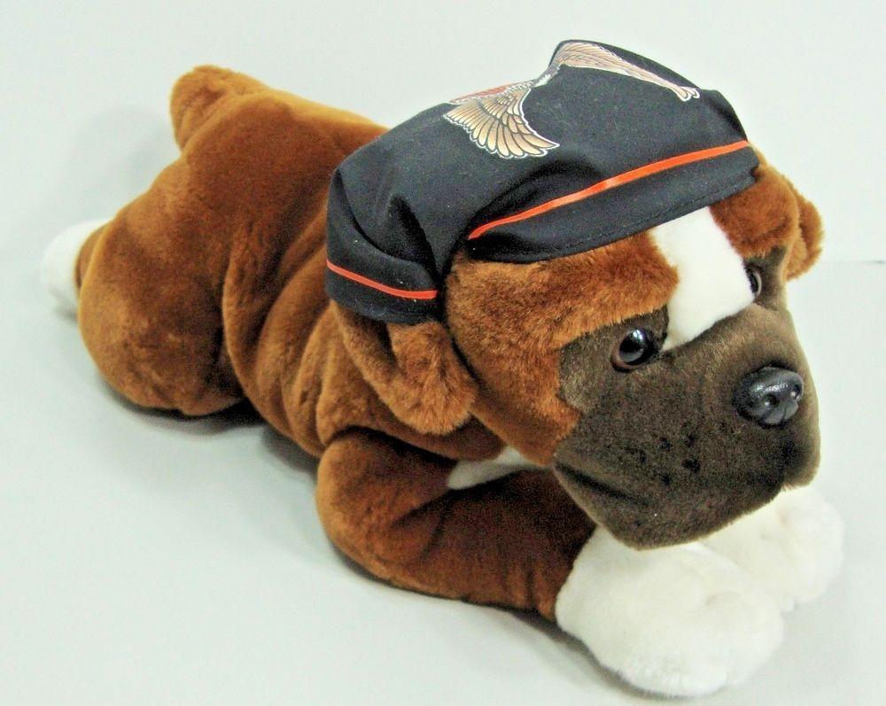 Authentic Harley Davidson Stuffed Plush Bulldog Toy Dog Brown
