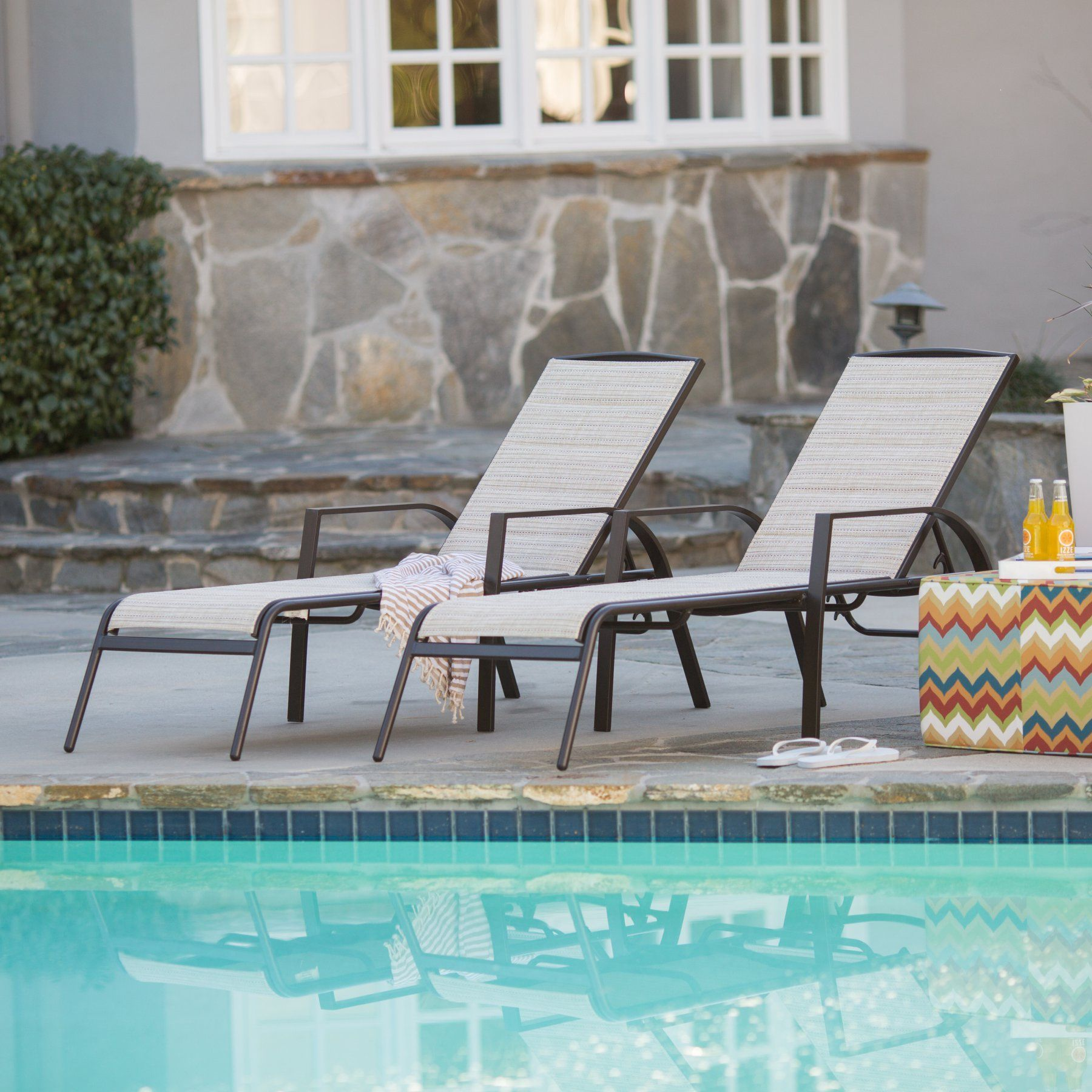Outdoor Lounge Chair: Del Rey Padded Sling Lounge Chairs - Set of 4 - BW-PBL03B-2032