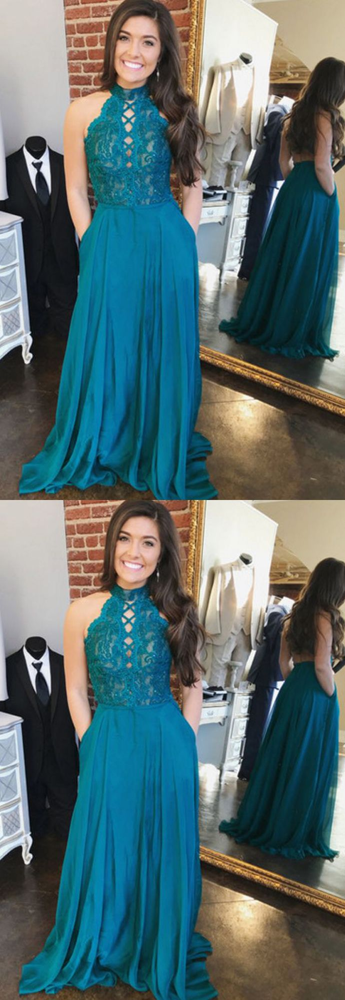 Charming a line halter open back chiffon peacock blue lace long prom
