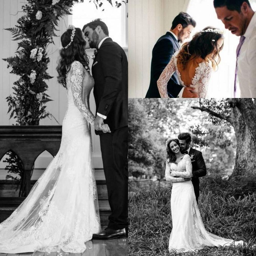 White Backless Lace Mermaid Wedding Dresses 2018 V Neck: Backless Boho Lace V Neck Wedding Dress White/Ivory