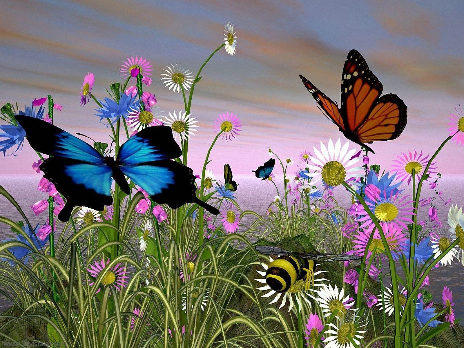 Paisajes De Flores Mariposas Una Azul Y Otra Marrón En Un Paisaje