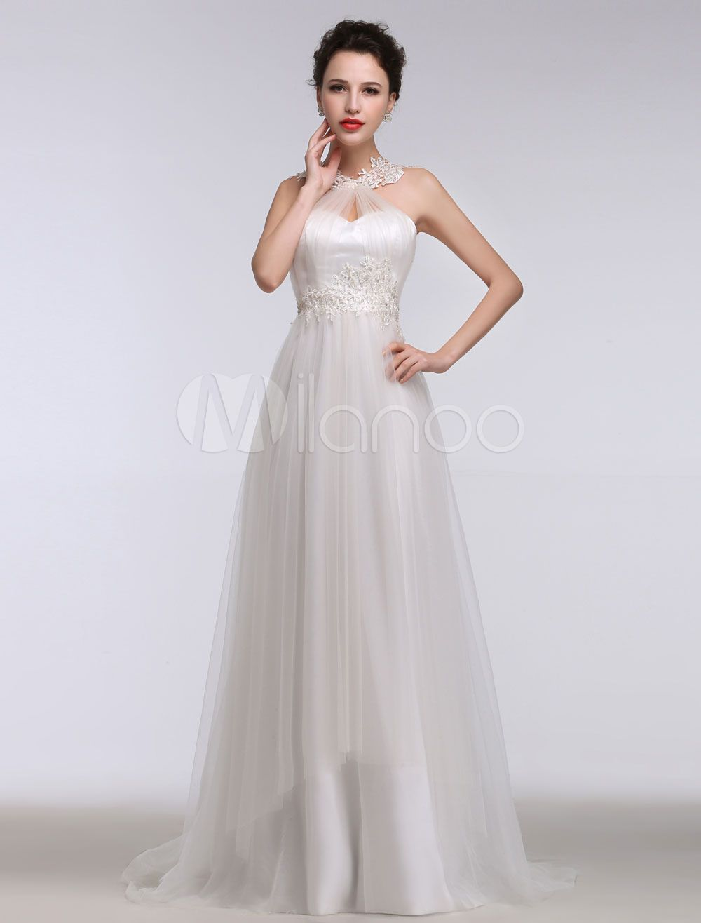 c142991a7f2 Lace Wedding Dress Halter Sweetheart A Line Beading Tulle Bridal Gown  Backless Lace Applique Court Train