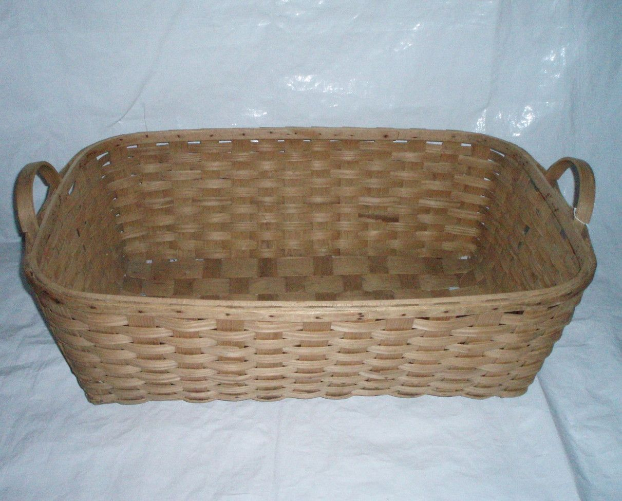 Large Antique Woven Wood Slat Laundry Basket Offered By