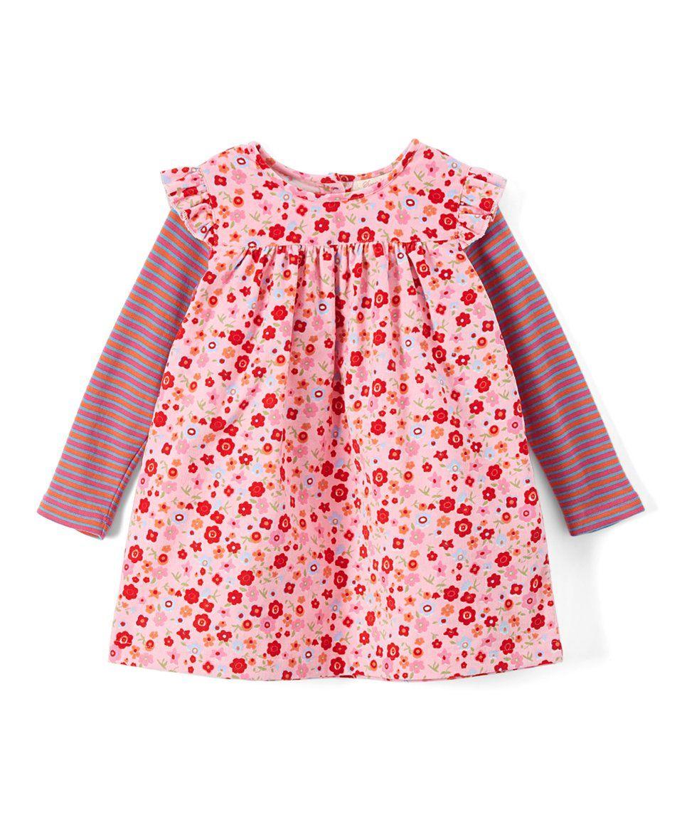 Take a look at this pink floral u stripe layered dress toddler
