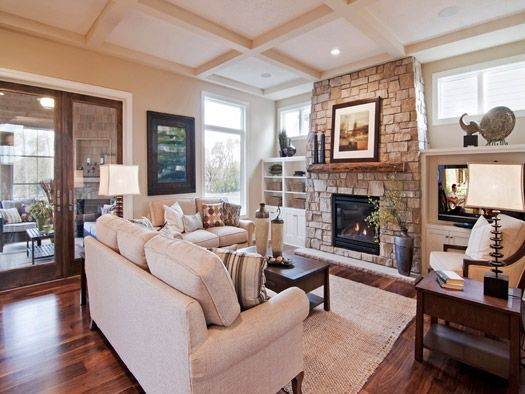 Great Room With Natural Stone Fireplace And 19th Century