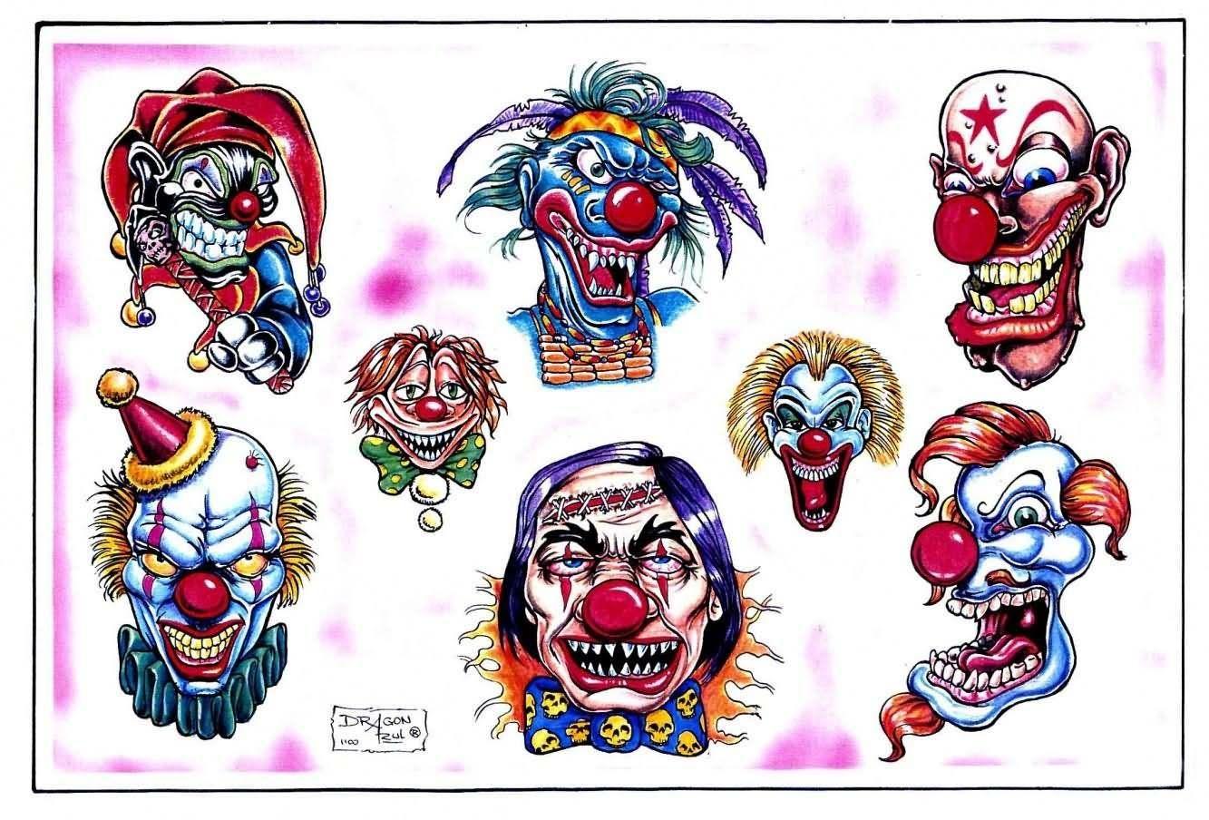 Картинки клоунов для тату ведь ягодах