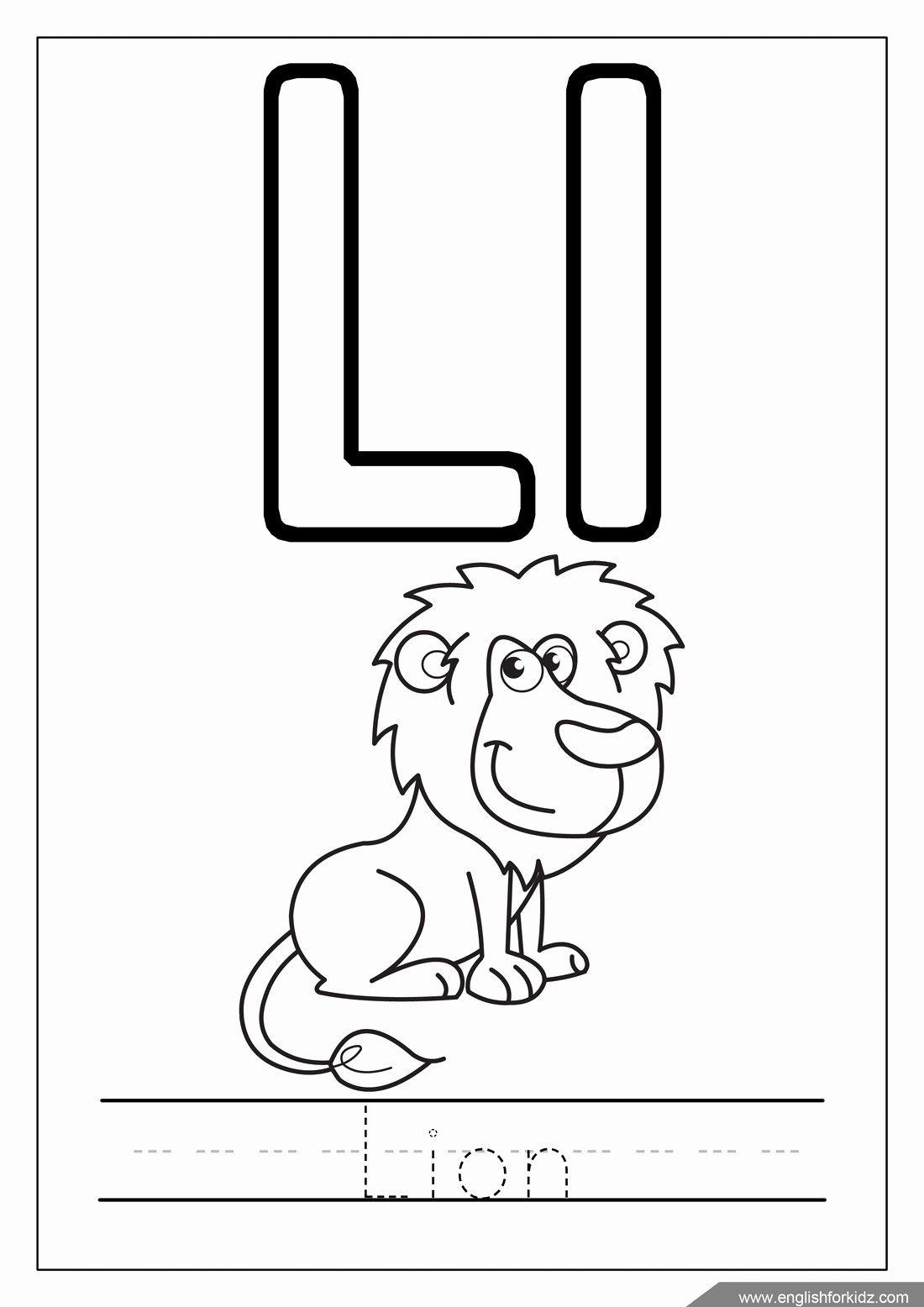 Letter L Coloring Page In