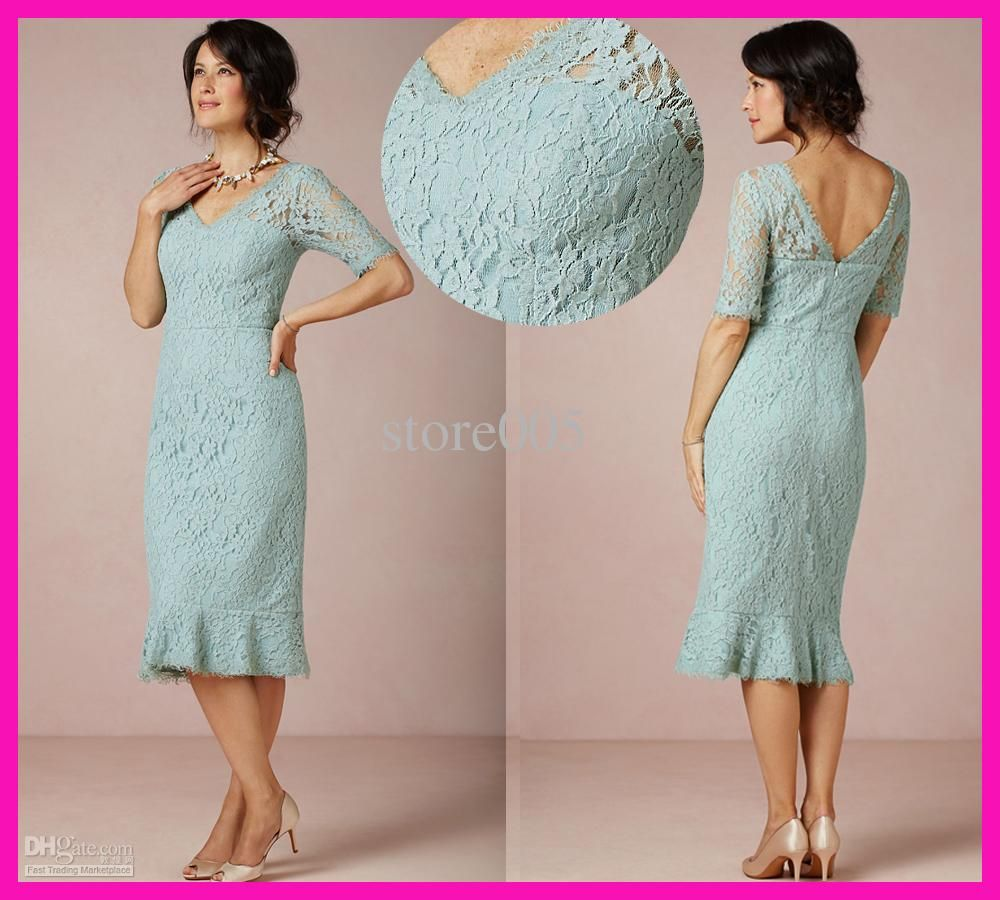 2016 Vintage Short Lace Mother of the Bride Dresses V Neck Tea ...