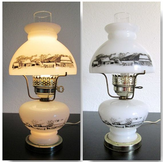 Currier And Ives Milk Glass Winter Scene Electric 3 Way Table Top Lamp Currier And Ives Milk Glass Milk Glass Lamp